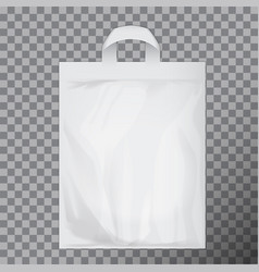 Empty white blank polyethylene bag mock up vector