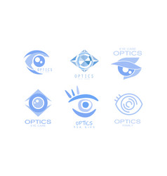 eye care optics logos collection kids clinic or vector image