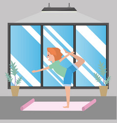 fit woman practicing yoga vector image