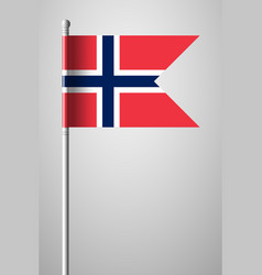 Flag of norway national flag on flagpole vector