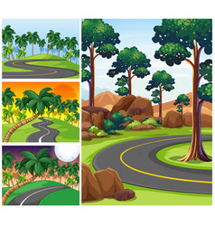 four scenes with roads and forest vector image