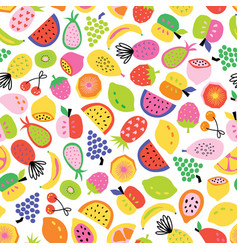 fruit seamless pattern hand drawn repeat vector image