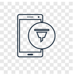 Funnel concept linear icon isolated on vector