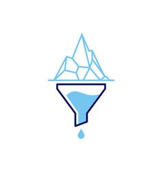 Funneling iceberg logo icon vector