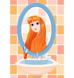 girl in a mirror vector image