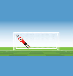 goalkeeper in action jumping to catch soccer ball vector image