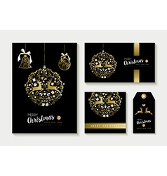 Gold christmas card and label design template set vector image