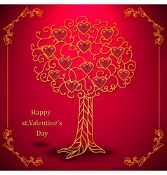 Gold valentines day tree forged with hearts vector image
