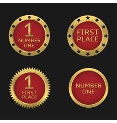 Golden badge set vector image