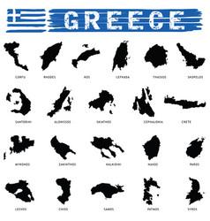 greek island paradise set in black color vector image