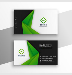 Green abstract modern business card design vector