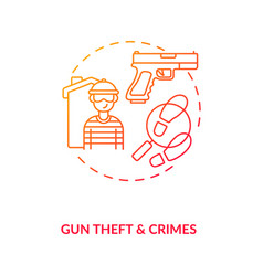 Gun theft and crimes red gradient concept icon vector