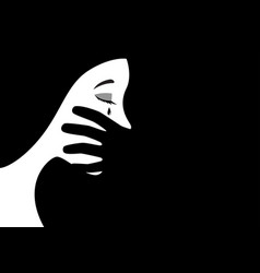 Hand covering womans mouth vector