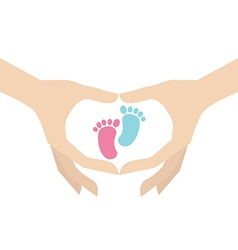 Hands holding kids footprint symbol vector