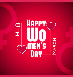 happy womens day card with red background vector image