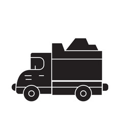 heavy truck black concept icon heavy truck vector image