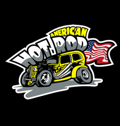 Hot rod american custom made cars t-shirt print vector