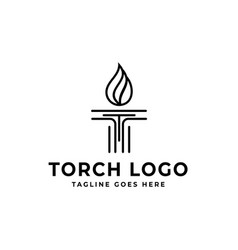 initial t and torch logo design vector image