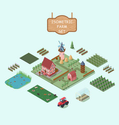Isometric farm elements set vector