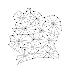 ivory coast map of polygonal mosaic lines network vector image