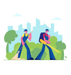 Janitors male and characters street cleaners vector
