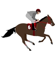 Jockey riding race horse 4 vector