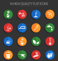 Landscape design 16 flat icons vector