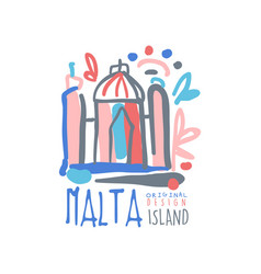 Malta island logo template original design exotic vector