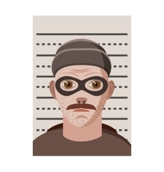 Man arrested photo in police icon cartoon style vector