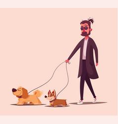 man is walking with a dog cartoon vector image