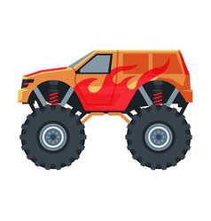 Monster truck vehicle red jeep car with big vector