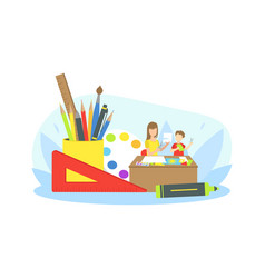 Mother doing craft with her son at home mother vector