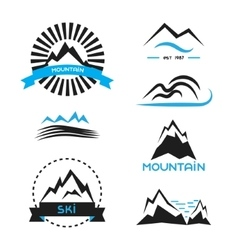 Mountain badge elements set Logo concepts vector image
