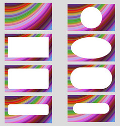 Multicolored curved design business card set vector