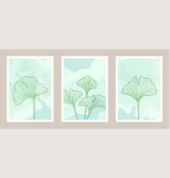 natural abstract botanical art set with watercolor vector image