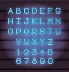 Neon lights alphabet font vector