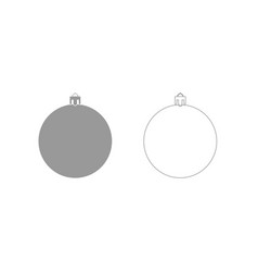 New years sphere christmas ball grey set icon vector