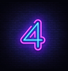 Number four symbol neon sign number four vector