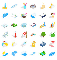 ocean water icons set isometric style vector image