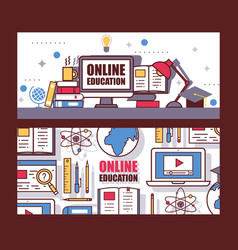 online education website header vector image