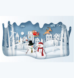Paper art style snowman at village in vector