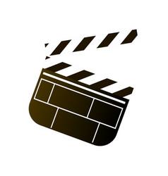 plastic or wood cinema clapperboard white black vector image