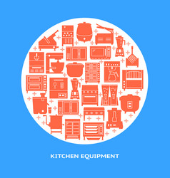 professional kitchen equipment round banner vector image