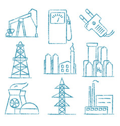 set energy and electricity hand drawn icons vector image