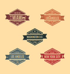 set hexagonal emblem with the name of us cities vector image