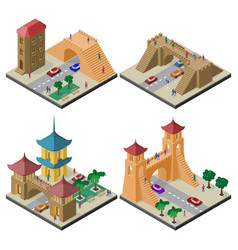 Set isometric cityscapes with roadway and vector