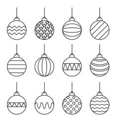 set of christmas balls icon line art vector image