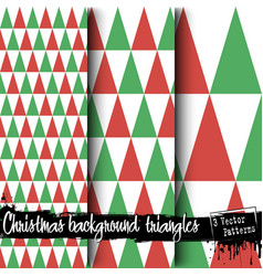 set of christmas triangle backgrounds vector image
