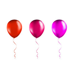 set red and pink balloons on transparent white vector image