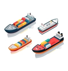 Set seagoing cargo ships feeder vessels vector